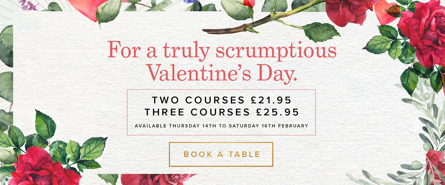 Valentine's Menu 2019 at Browns Bluewater in Dartford