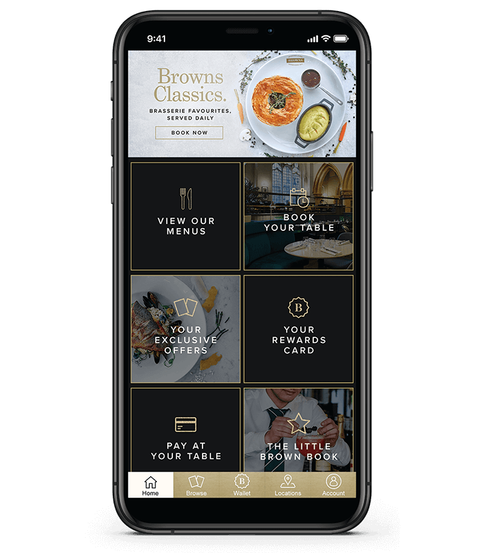 Browns Brasserie & Bar app